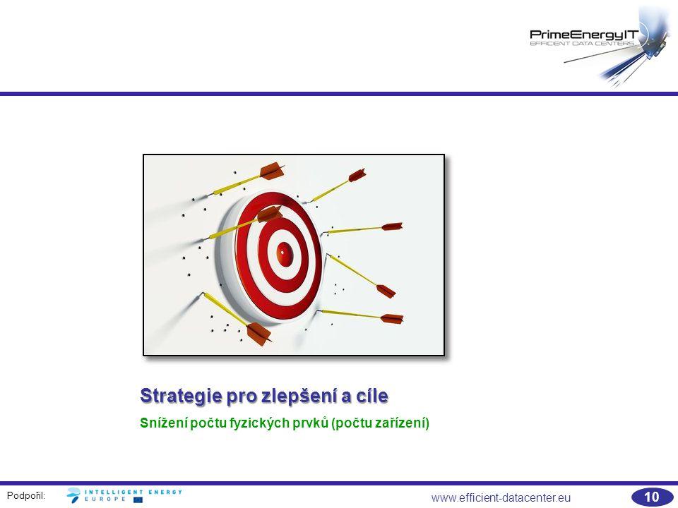 Podpořil: 10 www.efficient-datacenter.eu Strategie pro zlepšení a cíle Snížení počtu fyzických prvků (počtu zařízení)