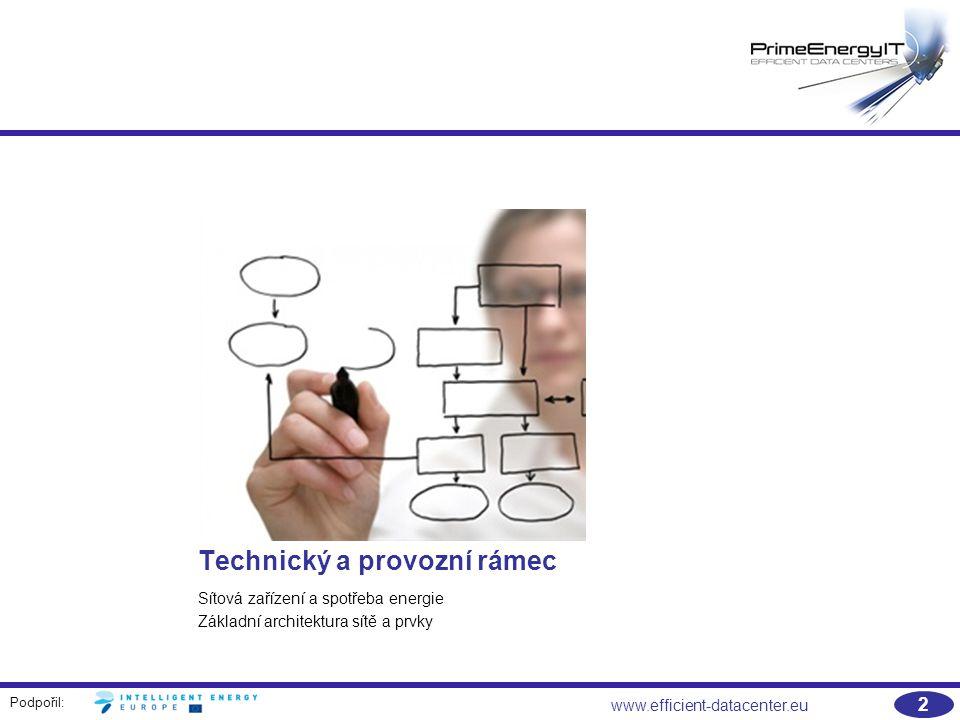 Podpořil: 2 www.efficient-datacenter.eu Technický a provozní rámec Sítová zařízení a spotřeba energie Základní architektura sítě a prvky