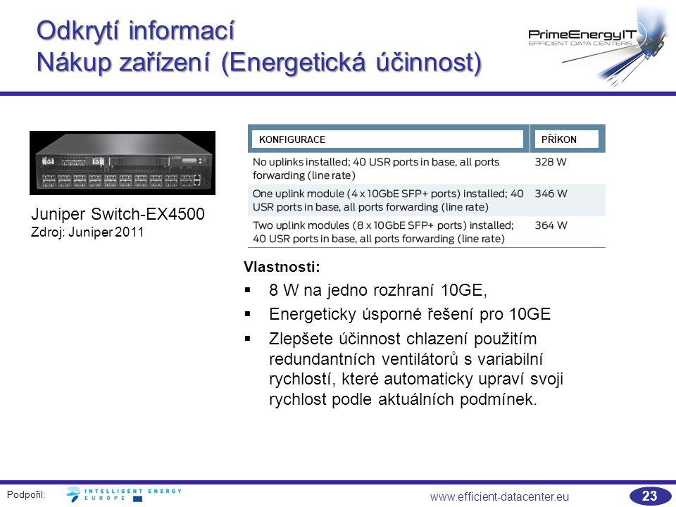 Podpořil: 23 www.efficient-datacenter.eu Vlastnosti:   8 W na jedno rozhraní 10GE,   Energeticky úsporné řešení pro 10GE   Zlepšete účinnost chlazení použitím redundantních ventilátorů s variabilní rychlostí, které automaticky upraví svoji rychlost podle aktuálních podmínek.