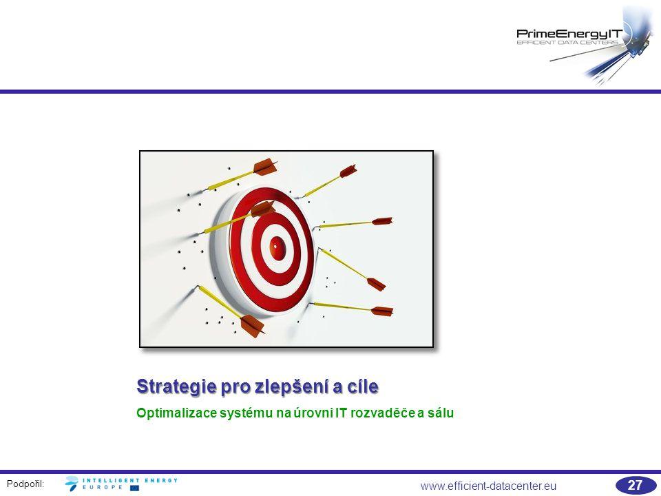 Podpořil: 27 www.efficient-datacenter.eu Strategie pro zlepšení a cíle Optimalizace systému na úrovni IT rozvaděče a sálu