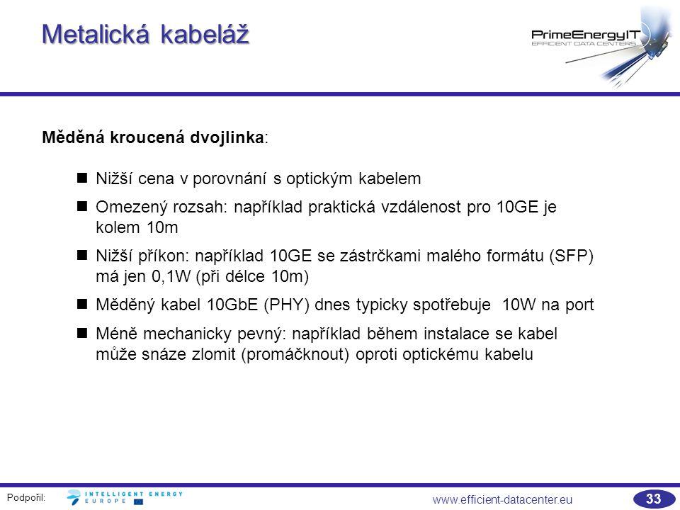 Podpořil: 33 www.efficient-datacenter.eu Metalická kabeláž Měděná kroucená dvojlinka: Nižší cena v porovnání s optickým kabelem Omezený rozsah: například praktická vzdálenost pro 10GE je kolem 10m Nižší příkon: například 10GE se zástrčkami malého formátu (SFP) má jen 0,1W (při délce 10m) Měděný kabel 10GbE (PHY) dnes typicky spotřebuje 10W na port Méně mechanicky pevný: například během instalace se kabel může snáze zlomit (promáčknout) oproti optickému kabelu