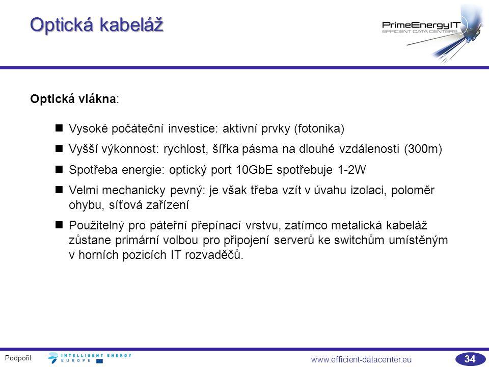 Podpořil: 34 www.efficient-datacenter.eu Optická kabeláž Optická vlákna: Vysoké počáteční investice: aktivní prvky (fotonika) Vyšší výkonnost: rychlost, šířka pásma na dlouhé vzdálenosti (300m) Spotřeba energie: optický port 10GbE spotřebuje 1-2W Velmi mechanicky pevný: je však třeba vzít v úvahu izolaci, poloměr ohybu, síťová zařízení Použitelný pro páteřní přepínací vrstvu, zatímco metalická kabeláž zůstane primární volbou pro připojení serverů ke switchům umístěným v horních pozicích IT rozvaděčů.