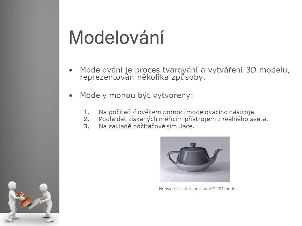 Modelování Modelování je proces tvarování a vytváření 3D modelu, reprezentován několika způsoby. Modely mohou být vytvořeny: 1.Na počítači člověkem po