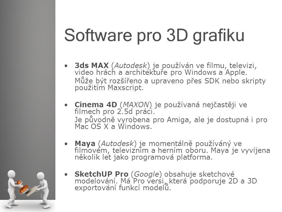 Software pro 3D grafiku 3ds MAX (Autodesk) je používán ve filmu, televizi, video hrách a architektuře pro Windows a Apple. Může být rozšířeno a uprave