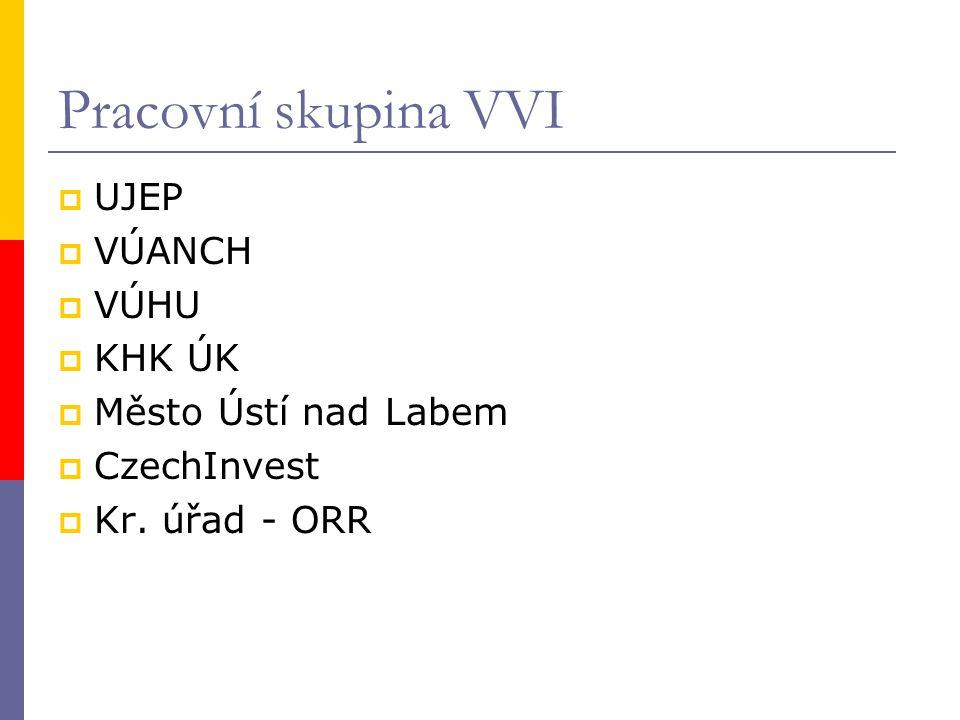 Pracovní skupina VVI  UJEP  VÚANCH  VÚHU  KHK ÚK  Město Ústí nad Labem  CzechInvest  Kr. úřad - ORR