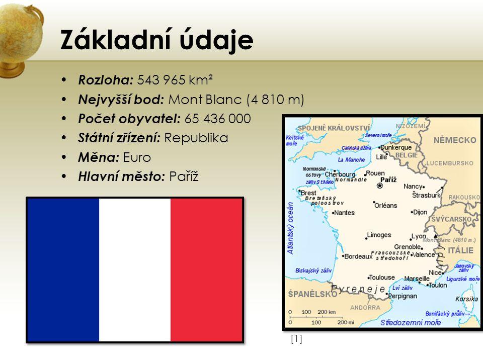 Základní údaje Rozloha: 543 965 km² Nejvyšší bod: Mont Blanc (4 810 m) Počet obyvatel: 65 436 000 Státní zřízení: Republika Měna: Euro Hlavní město: P