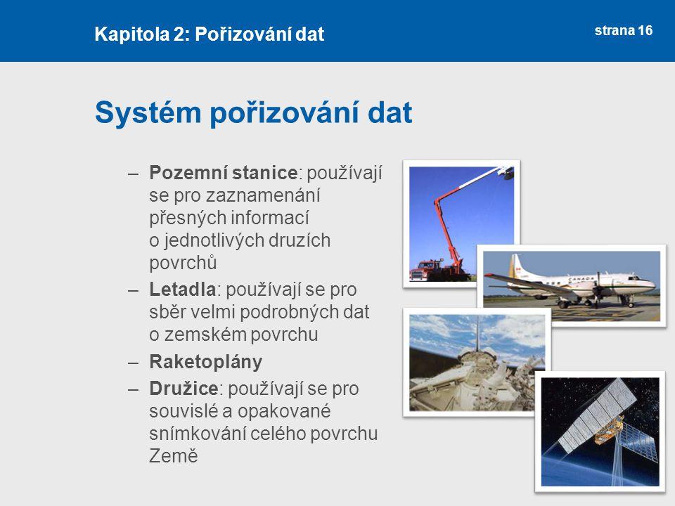 strana 16 Systém pořizování dat –Pozemní stanice: používají se pro zaznamenání přesných informací o jednotlivých druzích povrchů –Letadla: používají s