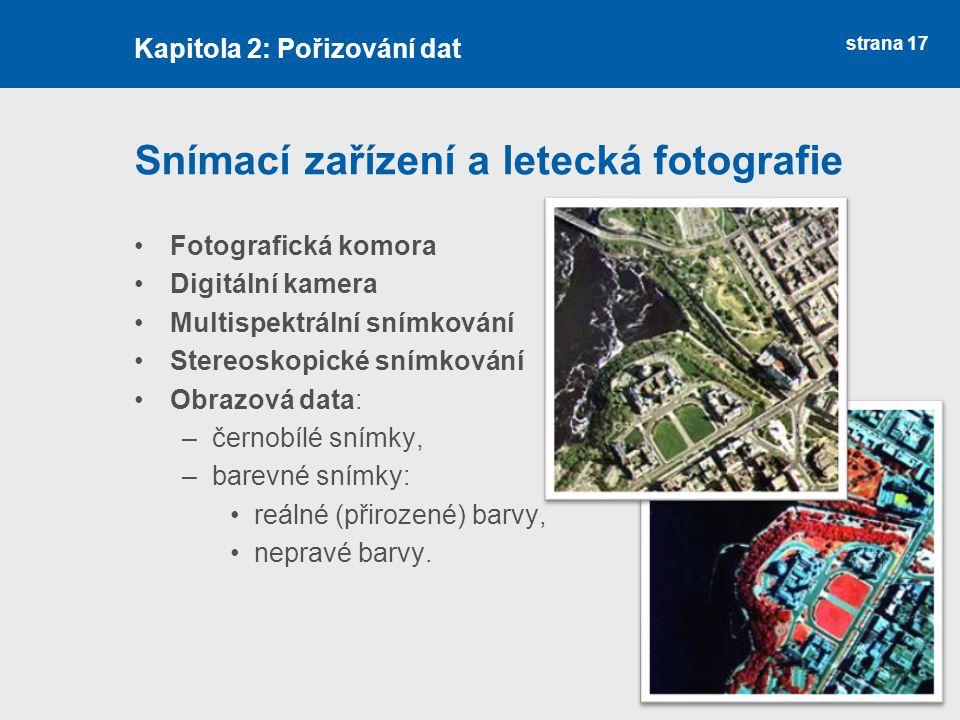 strana 17 Snímací zařízení a letecká fotografie Fotografická komora Digitální kamera Multispektrální snímkování Stereoskopické snímkování Obrazová dat
