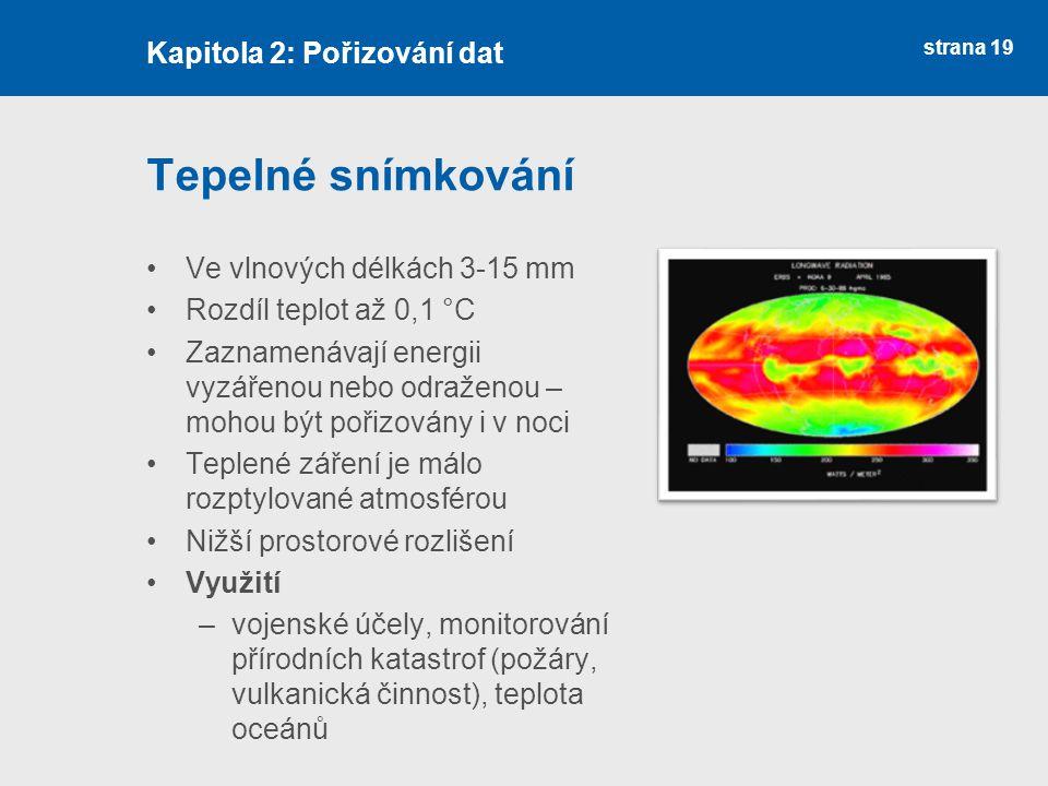 strana 19 Tepelné snímkování Ve vlnových délkách 3-15 mm Rozdíl teplot až 0,1 °C Zaznamenávají energii vyzářenou nebo odraženou – mohou být pořizovány