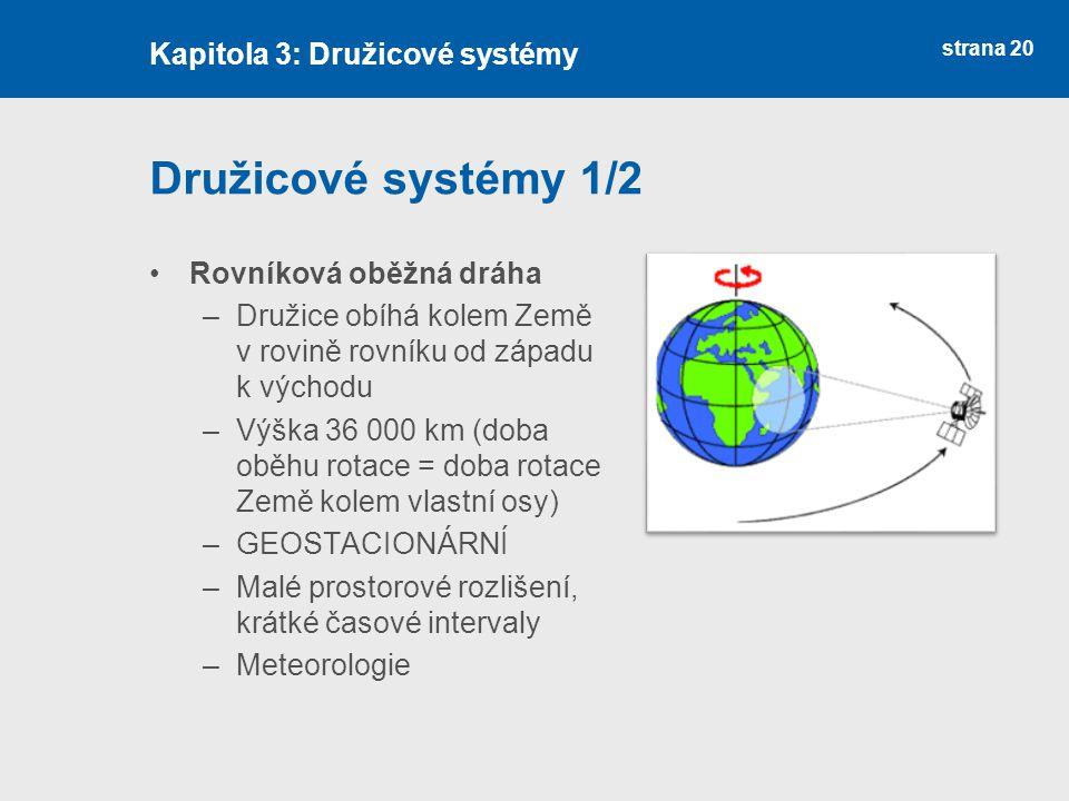 strana 20 Družicové systémy 1/2 Rovníková oběžná dráha –Družice obíhá kolem Země v rovině rovníku od západu k východu –Výška 36 000 km (doba oběhu rot