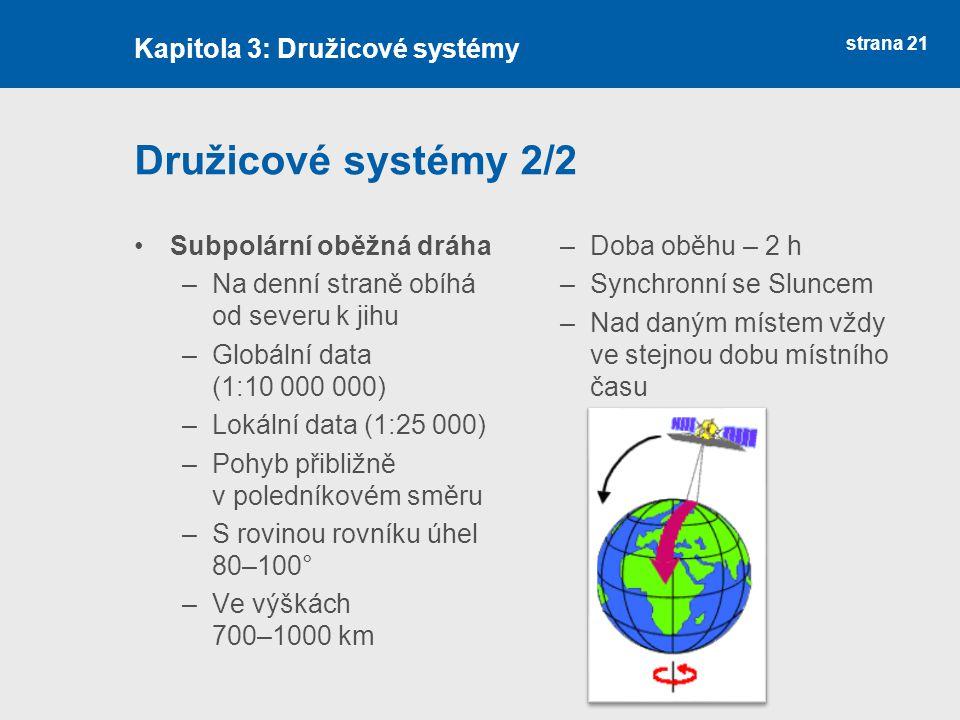 strana 21 Družicové systémy 2/2 Subpolární oběžná dráha –Na denní straně obíhá od severu k jihu –Globální data (1:10 000 000) –Lokální data (1:25 000)