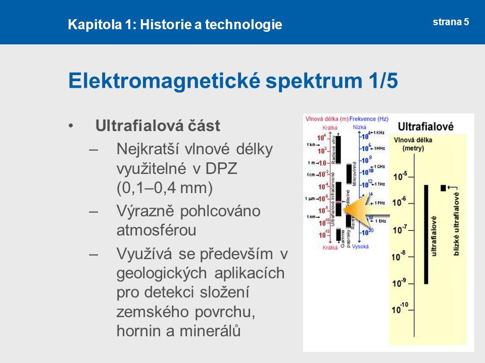 strana 5 Elektromagnetické spektrum 1/5 Ultrafialová část –Nejkratší vlnové délky využitelné v DPZ (0,1–0,4 mm) –Výrazně pohlcováno atmosférou –Využív