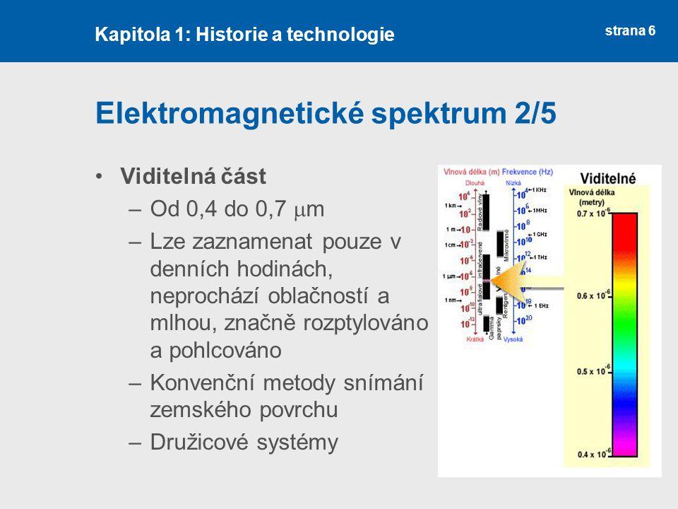 strana 6 Elektromagnetické spektrum 2/5 Viditelná část –Od 0,4 do 0,7  m –Lze zaznamenat pouze v denních hodinách, neprochází oblačností a mlhou, zna