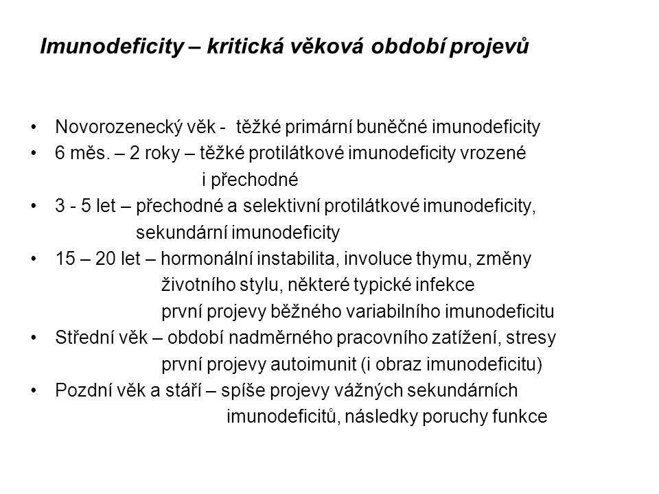 Imunodeficity – kritická věková období projevů Novorozenecký věk - těžké primární buněčné imunodeficity 6 měs. – 2 roky – těžké protilátkové imunodefi