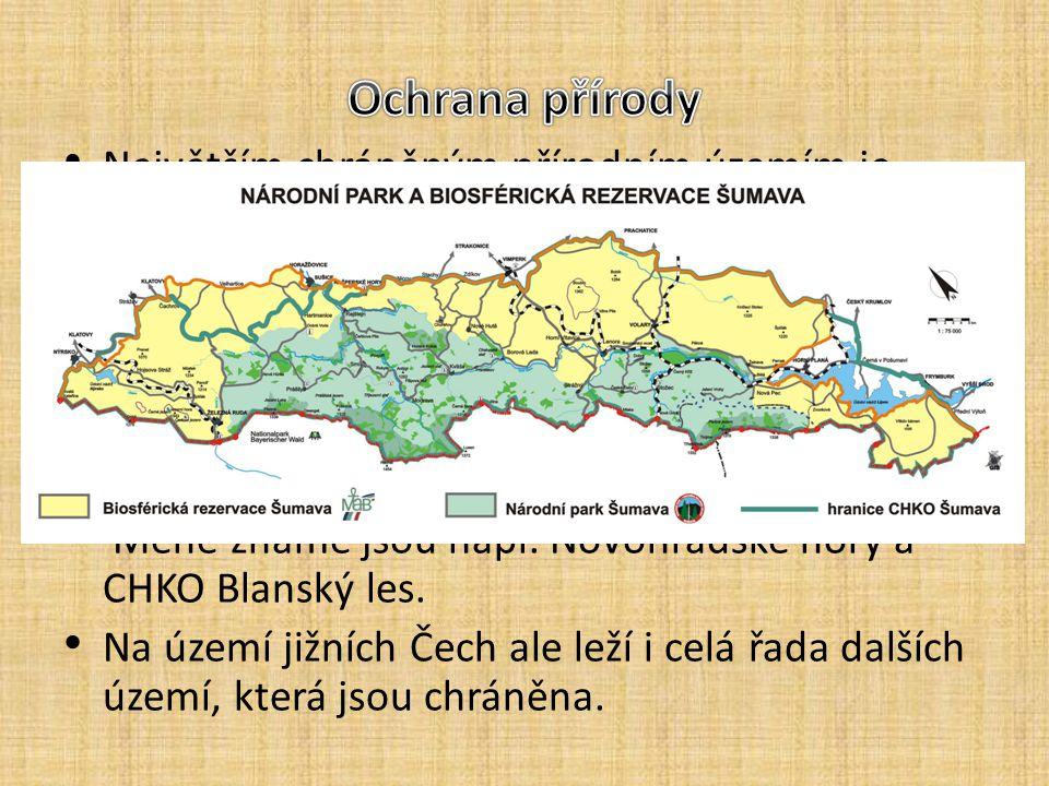 Největším chráněným přírodním územím je Šumava Chráněná jednak jako chráněná krajinná oblast, jednak (jádro území) jako národní park. Je součástí přes