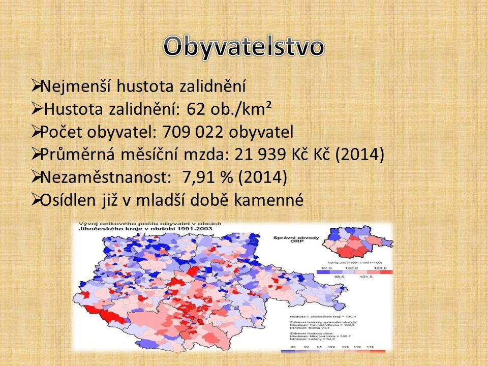  Nejmenší hustota zalidnění  Hustota zalidnění: 62 ob./km²  Počet obyvatel: 709 022 obyvatel  Průměrná měsíční mzda: 21 939 Kč Kč (2014)  Nezaměs