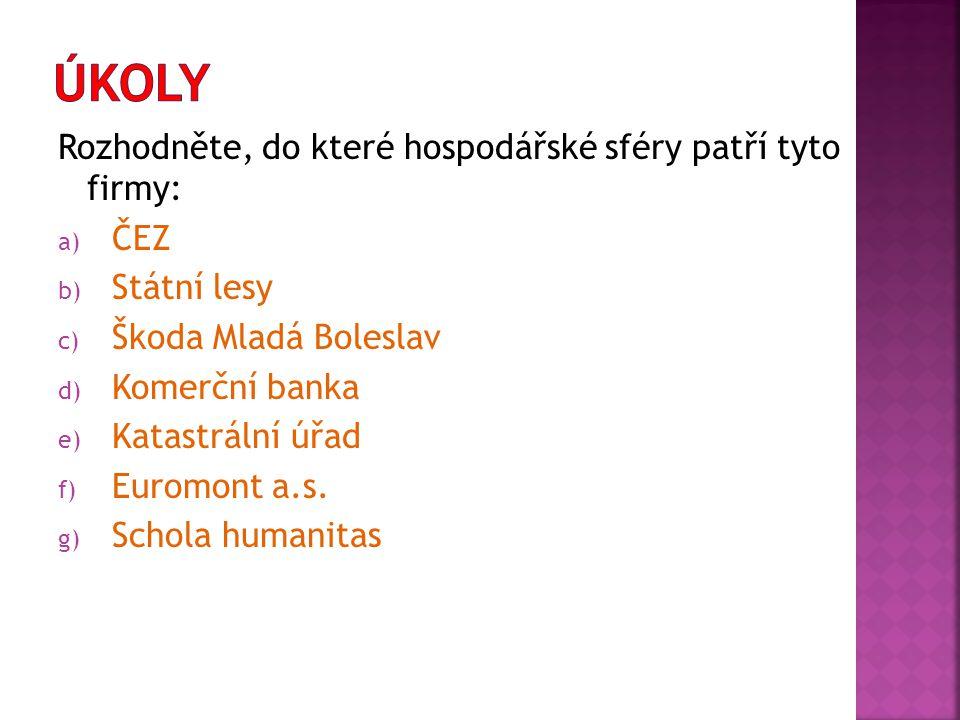 Rozhodněte, do které hospodářské sféry patří tyto firmy: a) ČEZ b) Státní lesy c) Škoda Mladá Boleslav d) Komerční banka e) Katastrální úřad f) Euromont a.s.