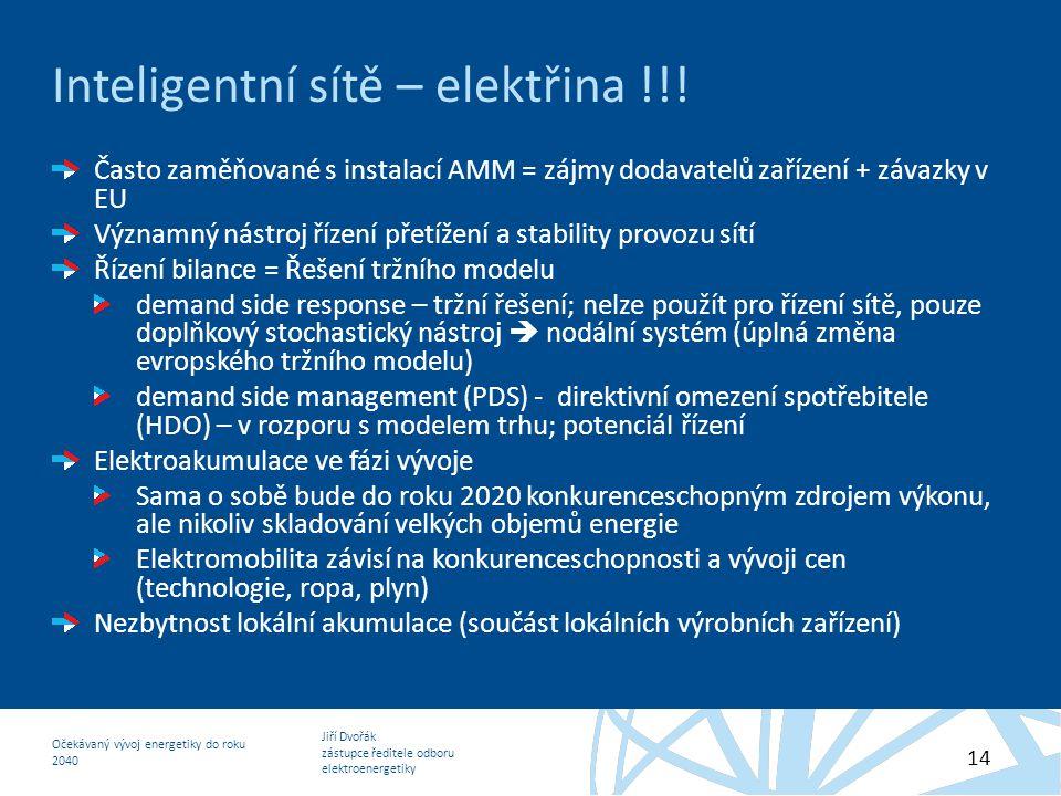 Jiří Dvořák zástupce ředitele odboru elektroenergetiky Očekávaný vývoj energetiky do roku 2040 14 Inteligentní sítě – elektřina !!! Často zaměňované s