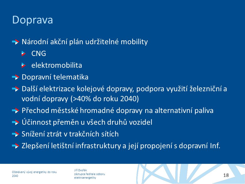 Jiří Dvořák zástupce ředitele odboru elektroenergetiky Očekávaný vývoj energetiky do roku 2040 18 Doprava Národní akční plán udržitelné mobility CNG e