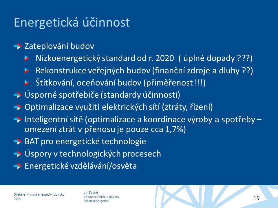 Jiří Dvořák zástupce ředitele odboru elektroenergetiky Očekávaný vývoj energetiky do roku 2040 19 Energetická účinnost Zateplování budov Nízkoenergeti