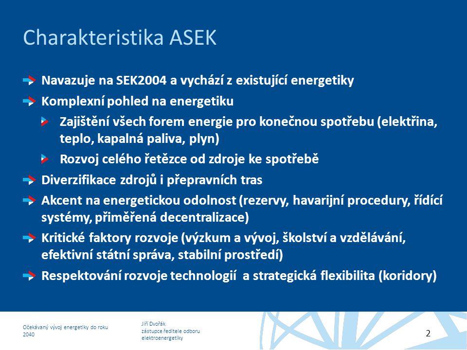 Jiří Dvořák zástupce ředitele odboru elektroenergetiky Očekávaný vývoj energetiky do roku 2040 2 Charakteristika ASEK Navazuje na SEK2004 a vychází z