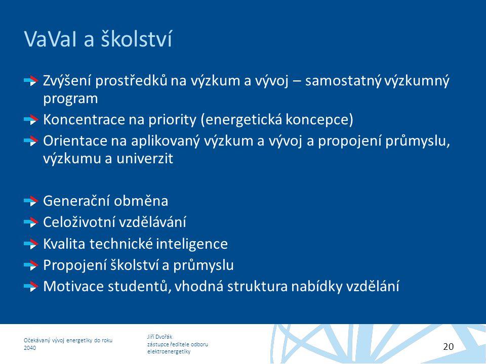 Jiří Dvořák zástupce ředitele odboru elektroenergetiky Očekávaný vývoj energetiky do roku 2040 20 VaVaI a školství Zvýšení prostředků na výzkum a vývo