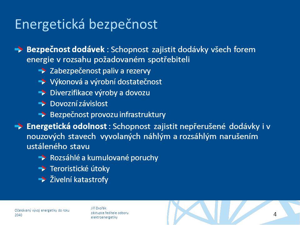 Jiří Dvořák zástupce ředitele odboru elektroenergetiky Očekávaný vývoj energetiky do roku 2040 4 Energetická bezpečnost Bezpečnost dodávek : Schopnost