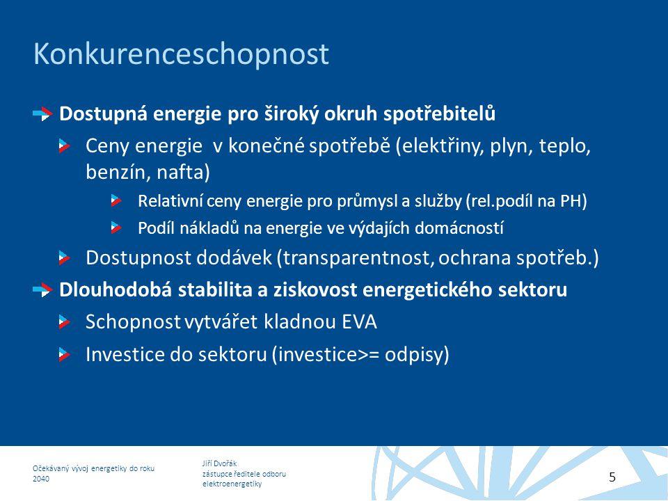 Jiří Dvořák zástupce ředitele odboru elektroenergetiky Očekávaný vývoj energetiky do roku 2040 5 Konkurenceschopnost Dostupná energie pro široký okruh