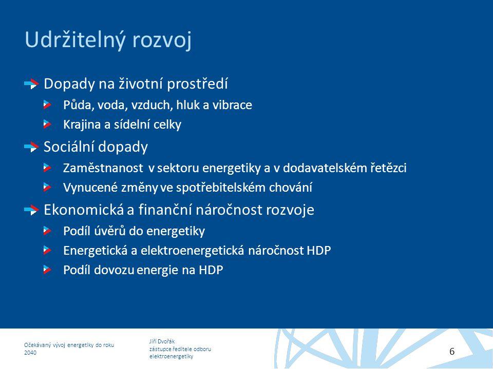 Jiří Dvořák zástupce ředitele odboru elektroenergetiky Očekávaný vývoj energetiky do roku 2040 6 Udržitelný rozvoj Dopady na životní prostředí Půda, v