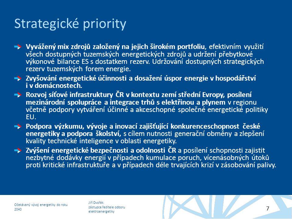 Jiří Dvořák zástupce ředitele odboru elektroenergetiky Očekávaný vývoj energetiky do roku 2040 7 Strategické priority Vyvážený mix zdrojů založený na