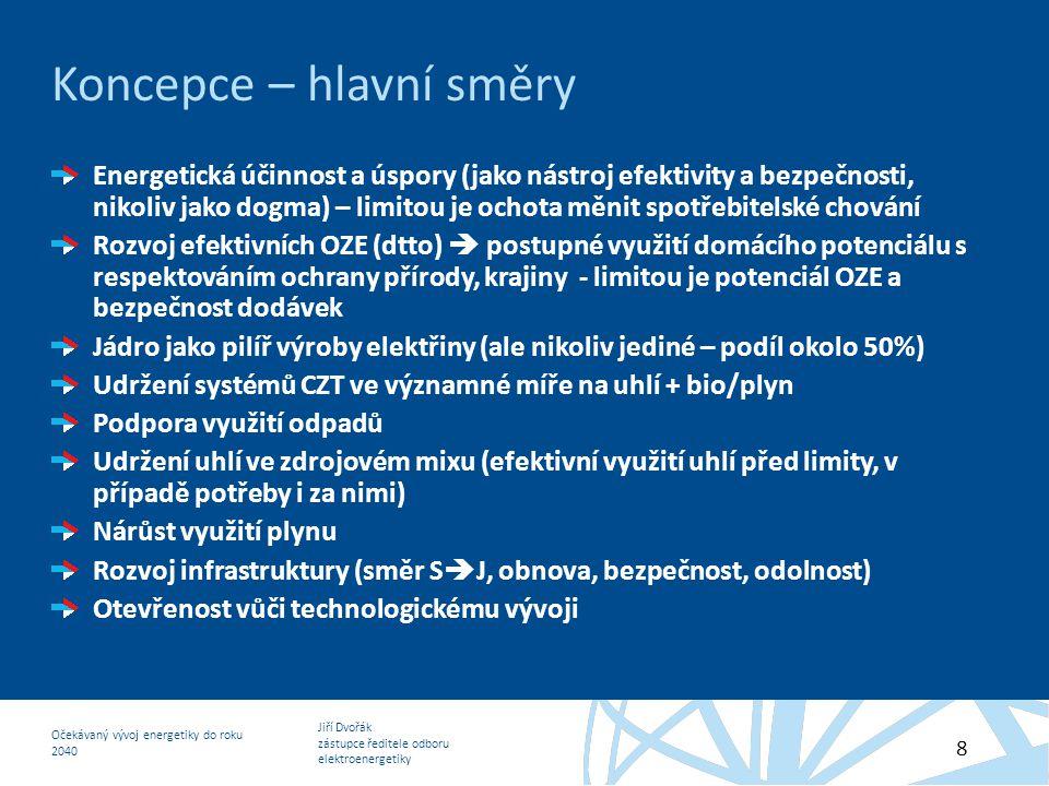 Jiří Dvořák zástupce ředitele odboru elektroenergetiky Očekávaný vývoj energetiky do roku 2040 8 Koncepce – hlavní směry Energetická účinnost a úspory