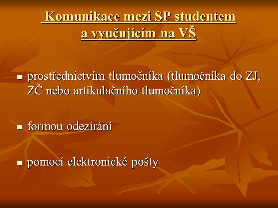Komunikace mezi SP studentem a vyučujícím na VŠ Komunikace mezi SP studentem a vyučujícím na VŠ prostřednictvím tlumočníka (tlumočníka do ZJ, ZČ nebo