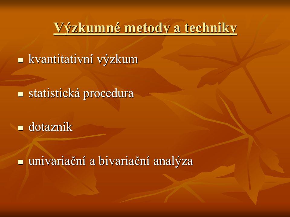 Výzkumné metody a techniky kvantitativní výzkum kvantitativní výzkum statistická procedura statistická procedura dotazník dotazník univariační a bivariační analýza univariační a bivariační analýza