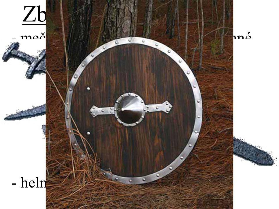 """Zbraně - meč - nejcennější zbraň, oboustranné ostří, cca 1m dlouhý, necelé 2kg, bodání než sekání - sekera - dlouhá rukojeť, k půlení štítů - kopí - boj zblízka - dlouhé, těžké, probodnu - boj na dálku – kratší, lehčí - štít - kulatý, asi 1m, ze dřeva, """"hrbol - helma – z kůže či železa, bez rohů"""