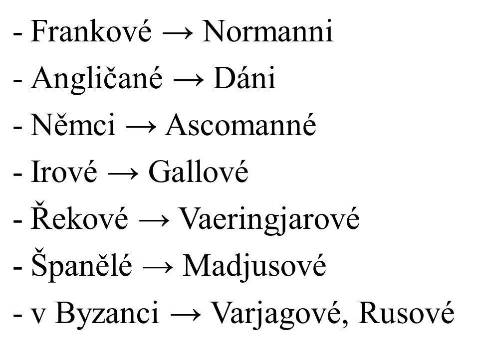 -Frankové → Normanni -Angličané → Dáni -Němci → Ascomanné -Irové → Gallové -Řekové → Vaeringjarové -Španělé → Madjusové -v Byzanci → Varjagové, Rusové