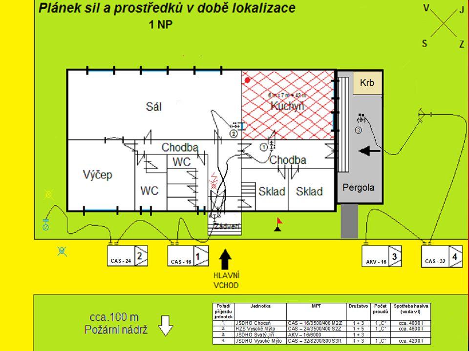 JSDHO Vysoké Mýto, 3 útočný proud je nasazen na ochranu pergoly Strojník, zde 3 proud, VODU.