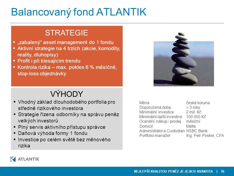 """NEJLEPŠÍ KVALITOU PENĚZ JE JEJICH KVANTITA STRATEGIE  """"zabalený"""" asset management do 1 fondu  Aktivní strategie na 4 trzích (akcie, komodity, realit"""