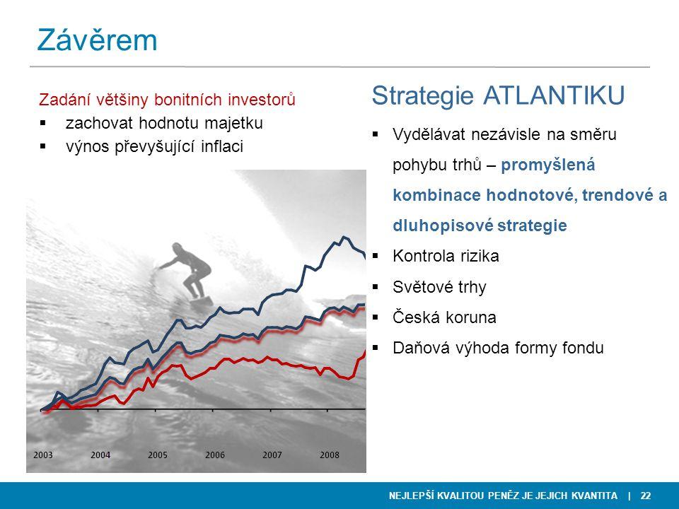 NEJLEPŠÍ KVALITOU PENĚZ JE JEJICH KVANTITA | 22 Závěrem Strategie ATLANTIKU  Vydělávat nezávisle na směru pohybu trhů – promyšlená kombinace hodnotov