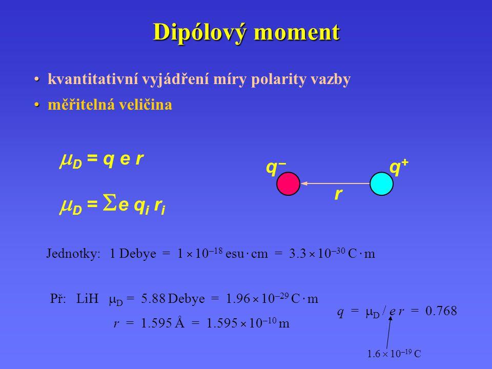 Dipólový moment kvantitativní vyjádření míry polarity vazby měřitelná veličina  D = q e r  D =  e q i r i q –q – q +q + r Jednotky: 1 Debye = 1  1