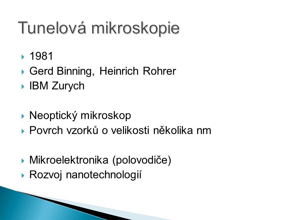  1981  Gerd Binning, Heinrich Rohrer  IBM Zurych  Neoptický mikroskop  Povrch vzorků o velikosti několika nm  Mikroelektronika (polovodiče)  Rozvoj nanotechnologií