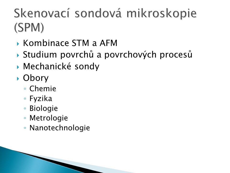  Kombinace STM a AFM  Studium povrchů a povrchových procesů  Mechanické sondy  Obory ◦ Chemie ◦ Fyzika ◦ Biologie ◦ Metrologie ◦ Nanotechnologie