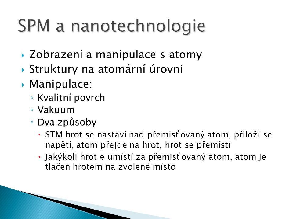  Zobrazení a manipulace s atomy  Struktury na atomární úrovni  Manipulace: ◦ Kvalitní povrch ◦ Vakuum ◦ Dva způsoby  STM hrot se nastaví nad přemisťovaný atom, přiloží se napětí, atom přejde na hrot, hrot se přemístí  Jakýkoli hrot e umístí za přemisťovaný atom, atom je tlačen hrotem na zvolené místo