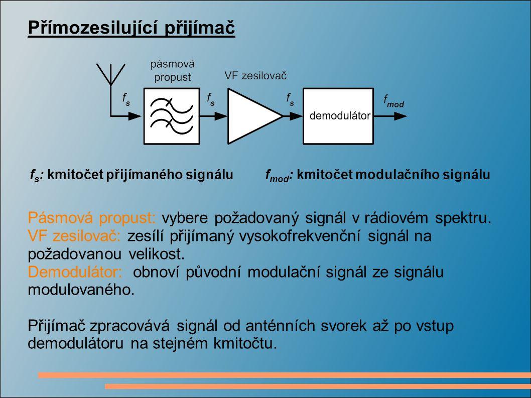 Přímozesilující přijímač f s : kmitočet přijímaného signálu f mod : kmitočet modulačního signálu Pásmová propust: vybere požadovaný signál v rádiovém