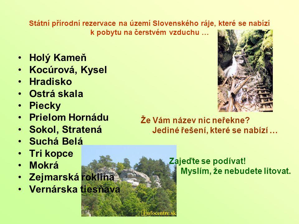 Státní přírodní rezervace na území Slovenského ráje, které se nabízí k pobytu na čerstvém vzduchu … Že Vám název nic neřekne? Jediné řešení, které se