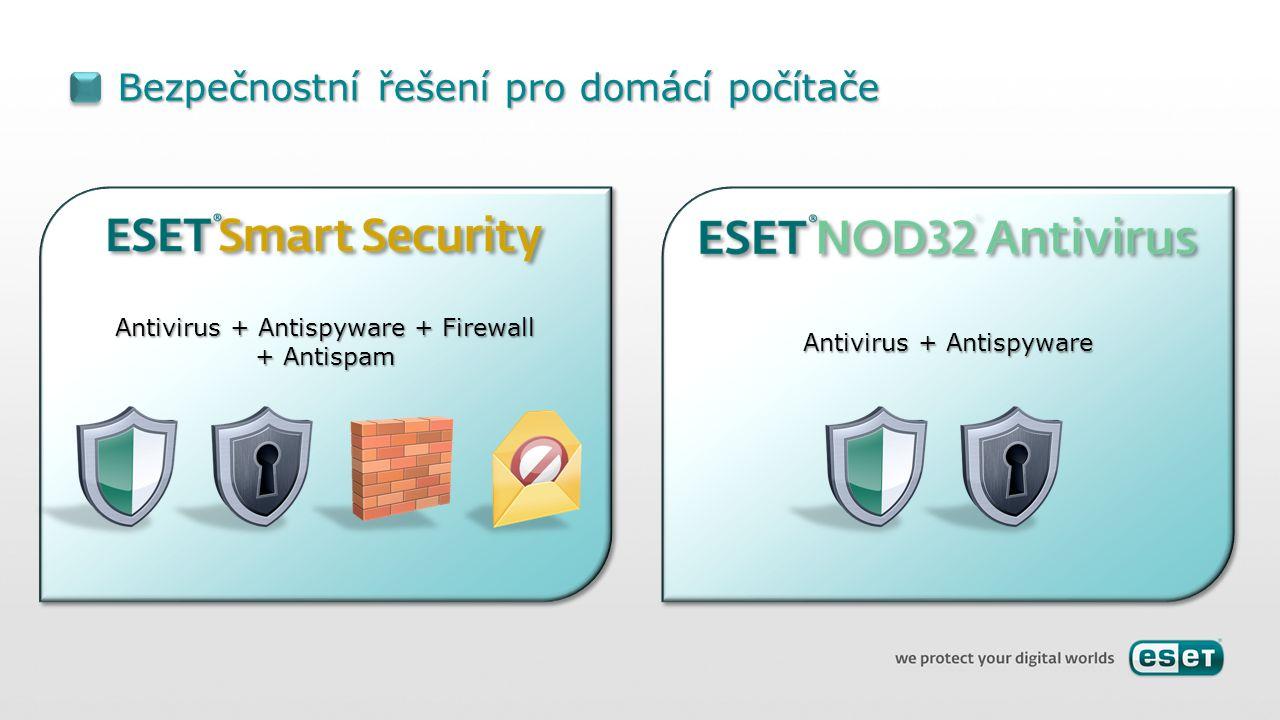 Antivirus + Antispyware Bezpečnostní řešení pro domácí počítače Antivirus + Antispyware + Firewall + Antispam