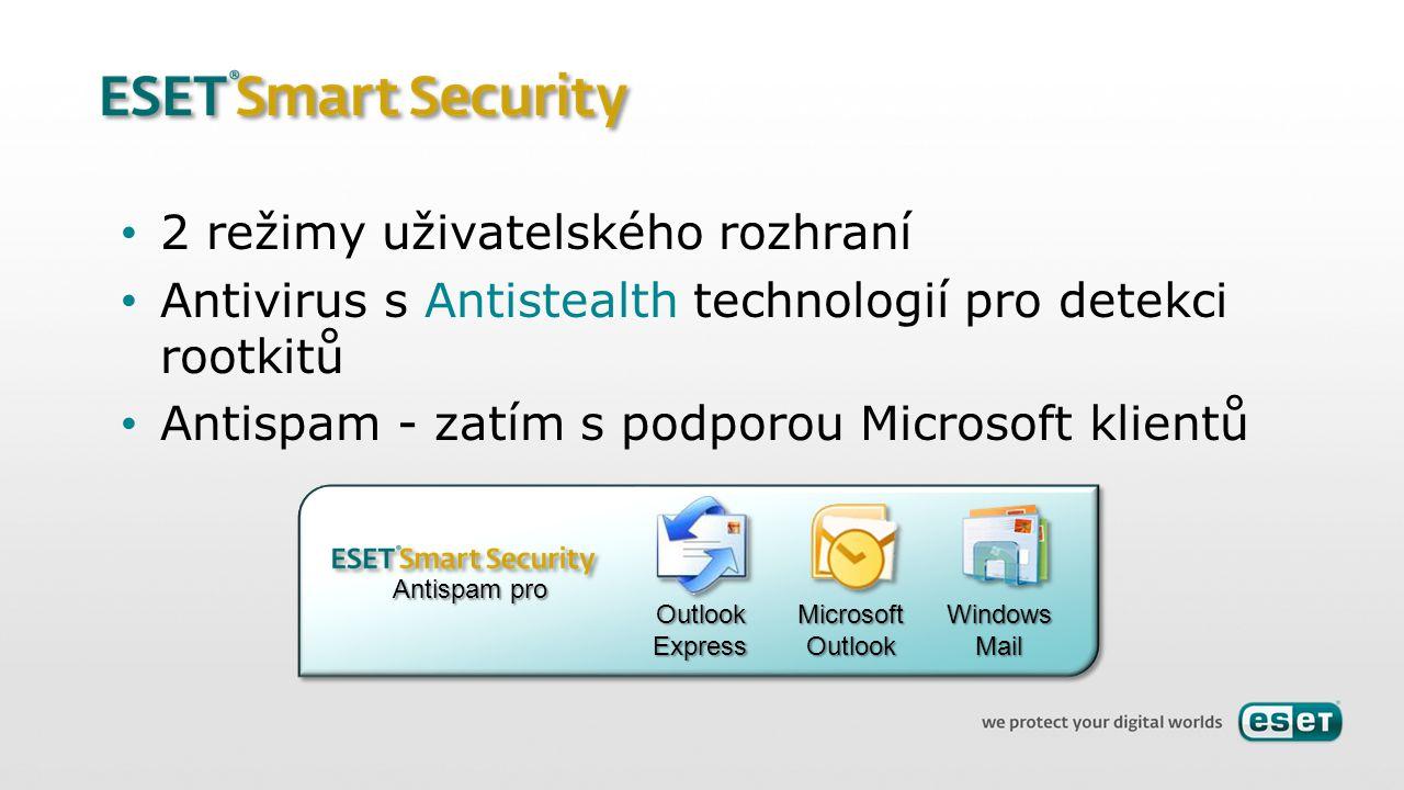 2 režimy uživatelského rozhraní Antivirus s Antistealth technologií pro detekci rootkitů Antispam - zatím s podporou Microsoft klientů OutlookExpressM