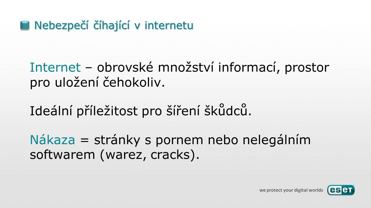 Nebezpečí číhající v internetu Internet – obrovské množství informací, prostor pro uložení čehokoliv.