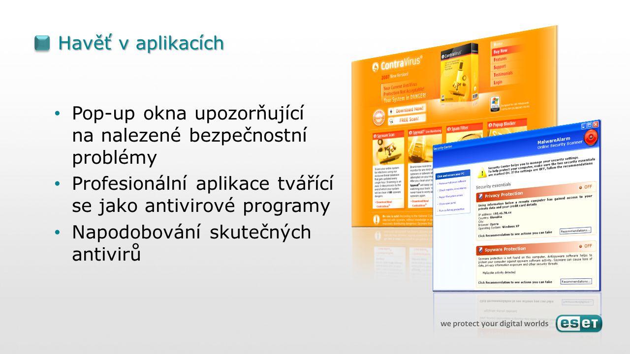 Havěť v aplikacích Pop-up okna upozorňující na nalezené bezpečnostní problémy Profesionální aplikace tvářící se jako antivirové programy Napodobování skutečných antivirů