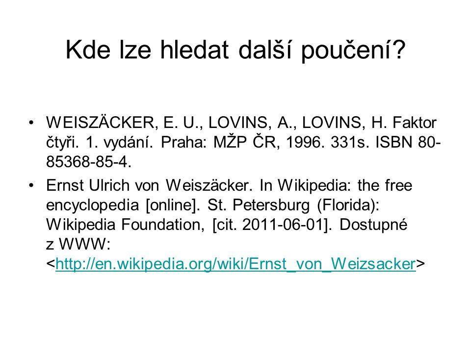 Kde lze hledat další poučení? WEISZÄCKER, E. U., LOVINS, A., LOVINS, H. Faktor čtyři. 1. vydání. Praha: MŽP ČR, 1996. 331s. ISBN 80- 85368-85-4. Ernst