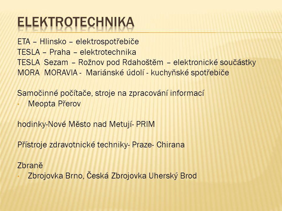 ETA – Hlinsko – elektrospotřebiče TESLA – Praha – elektrotechnika TESLA Sezam – Rožnov pod Rdahoštěm – elektronické součástky MORA MORAVIA - Mariánské